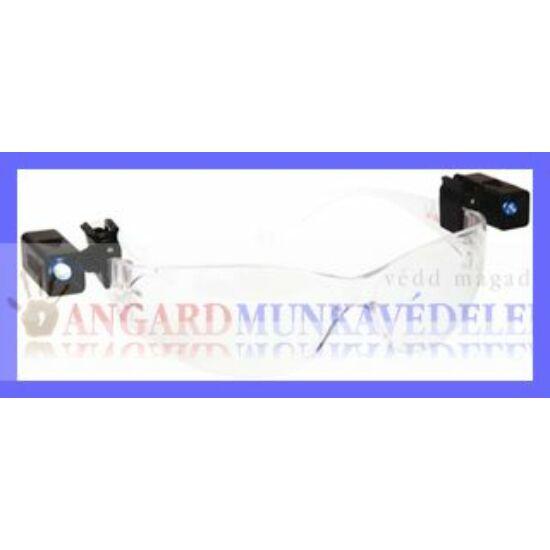 Ledlux száras szemüvegre tehető, forgatható, elemes LED lámpa, 20 x 10 mm
